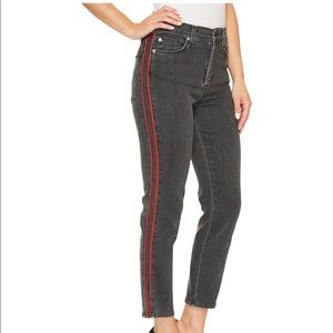 NWT Hudson Zoeey Ankle Straight Red Stripe Jeans
